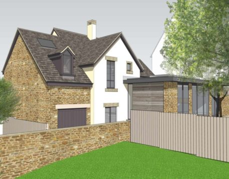 Rear perspective of modern family home with character